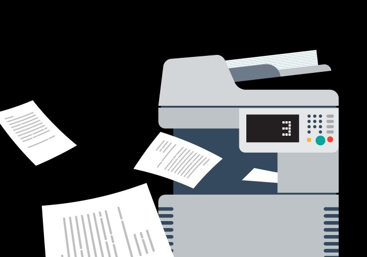 Illustration of office printer surrounded by floating paper