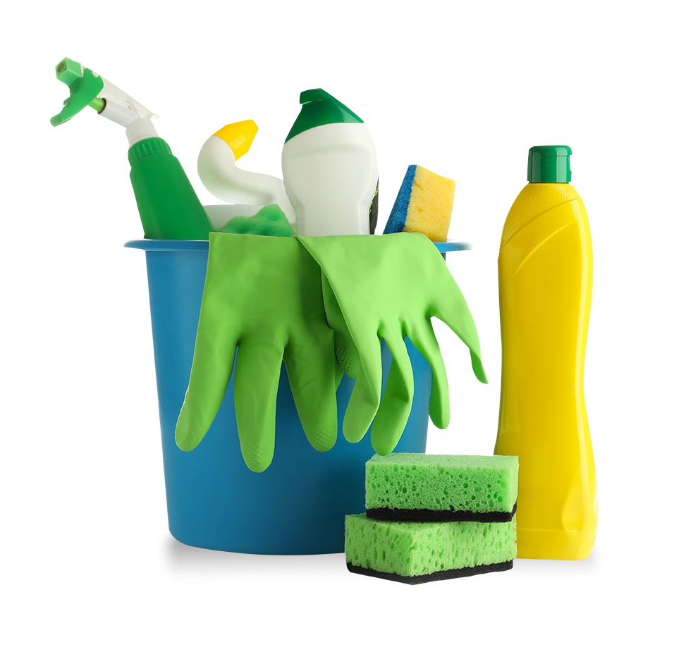 Cleaning supplies in a blue bucket with sponges beside
